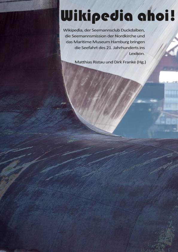 Cover der Wikipedia ahoi Broschüre. Schiffsrumpf vor dem Hintergrund des Hamburger Hafens